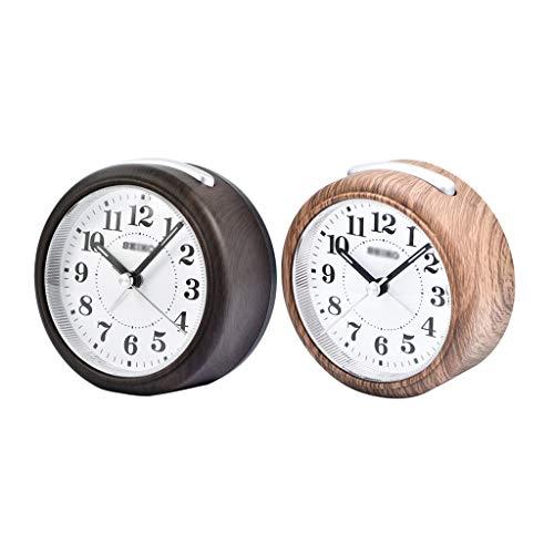 ZRJ Clásico Despertador para el Dormitorio Silent Non Ticking Kids Reloj Despertador Light Reloj de Alarma Snooze y Funciones d Luz Moda (Color : Black+Brown)