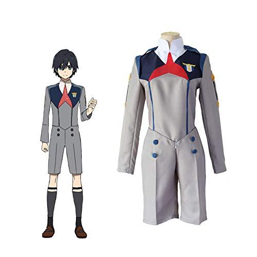 LCHENX-Anime Darling in The FRANXX Hiro Costume De Cosplay Jeu d'halloween Uniforme De Fête,Gris,M
