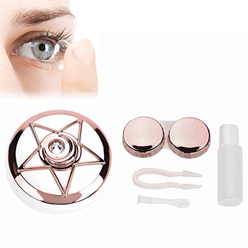 Kontaktlinsenbehälter, Tragbarer Kontaktlinsen Halter mit Spiegel Pentagram Form Objektiven Netter Reizender Reise Ausrüstungs Behälter Kasten(Rosa)