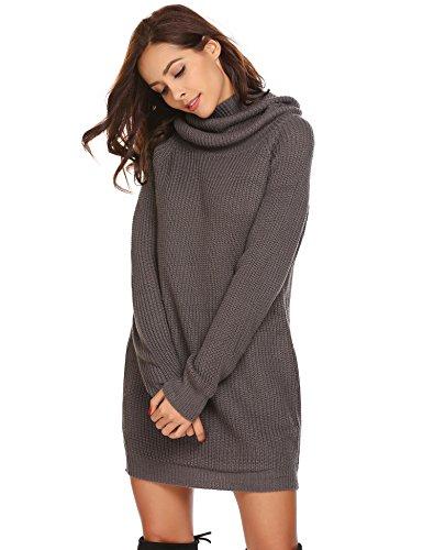 Zeela Damen Herbst Winter Pullover Kleid Lang Rollkragenpullover Strickkleid mit Taschen , Farbe - Dunkelgrau , Gr. S