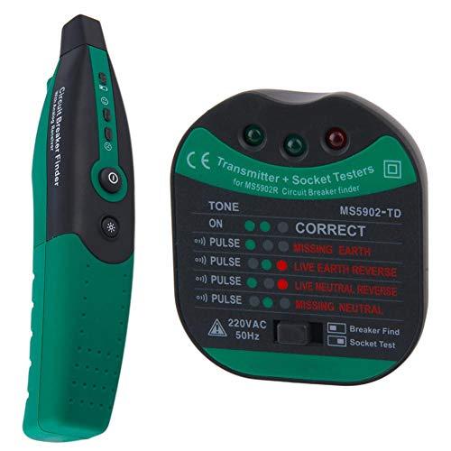 Ms5902 Disyuntor Finder, Toma Eléctrica De Salida Del Probador De Fusibles Detector Pruebas De Alambre Con Linterna (verde, Enchufe De La Ue)