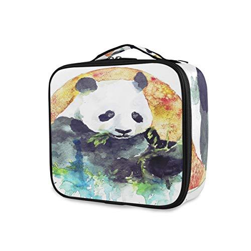 Voyage Maquillage Sac Portable Organisateur Outils Cosmétique Train Case Trousse De Toilette Panda Manger Bambou De Stockage