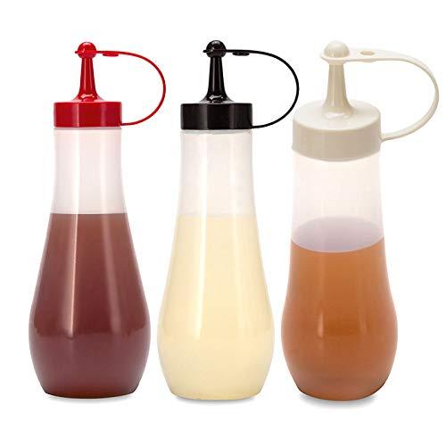 Besylo Botella de Salsa, con Tapas de Rosca, 3pcs Squeeze Bottle, Biberon Salsas, Ninguna Fuga, Sin BPA, para Condimentos, Salsa de Tomate, Mostaza, Aceite De Oliva (240ml)