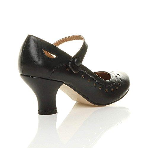 Damen Herzmuster Mary Jane Mittlerer Absatz Feinmachen Pumps Schuhe Größe 38 5 - 4