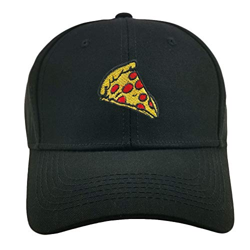 Home Fashion DIY Pepperoni Pizza Embroidered Dad Hat Adjustable Cotton Cap Baseball Cap for Men and Women