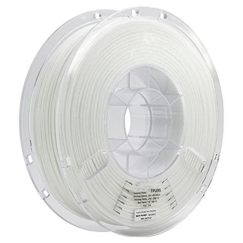 3D Printer Filament 2.85mm TPU 95A Material, Good Elasticity, Easy to Print, 750g Spool-White_2.85mm