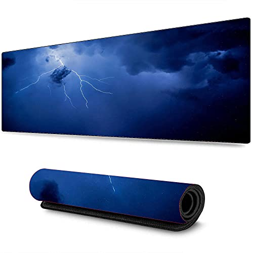 Night Starry Sky Lightning Mouse Pad Large Gaming Desktop XXL Accesorios Pc Gaming Computer Keyboard Tapete de Escritorio 700X300X3 mm
