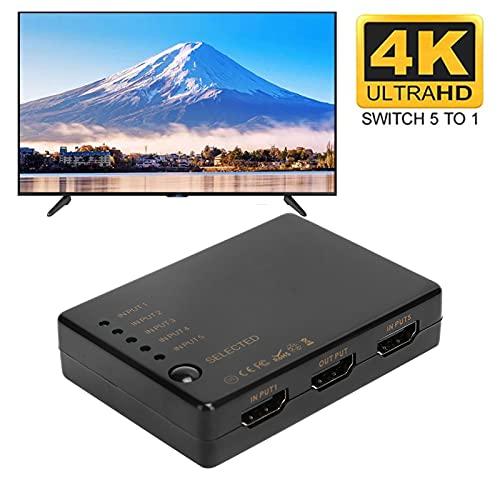 Divisor de conmutador, Cable estándar de 5 entradas y 1 Salida Función de Control Remoto Conmutador HD 1080P Fácil de Instalar para computadora para PS3 / 4 para Network Box