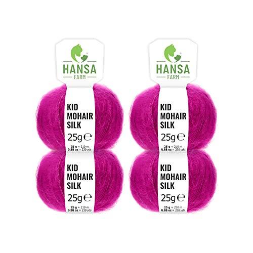 HANSA-FARM Laine Kid Mohair Premium avec Soie dans 20 Couleurs - Kit de 100g (4 x 25g) - 72% de Mohair, 28% de Soie - Laine de Haute qualité pour Tricot et Crochet de Lilas-Rogue