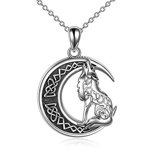 YFN Wolf Halskette Geschenke für Frauen Sterling Silber Celtic Knot Wolf Moon Anhänger Halskette Schmuck für Männer Mädchen (Silberwolf Halskette 2)