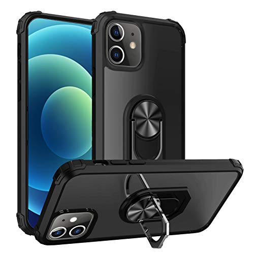 Clear Case for iPhone 12 Pro with Ring Kickstand Military Grade Shock Absorption Magnetic Cover Compatible with iPhone 12 Pro 6.1 inch(Black)