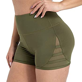 KUTAPU High Waitsed Running Yoga Shorts for Women Tummy Hider Shorts with Pockets Army Green L
