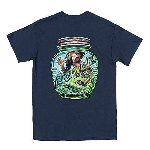 Rietveld Clothing - Camiseta de Surf para Hombre, diseño de Botella mágica, Color Azul Marino Azul Azul (Heather Navy) XL