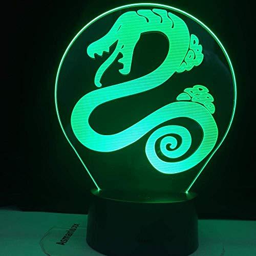 Lámpara de ilusión 3D Luz de noche LED Deadly Kids Dormitorio Decoración Diana Snake Envy 7 colores Lámpara de mesa Los mejores regalos de vacaciones de cumpleaños Niños
