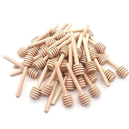 La miel palo de madera con la miel Cuchara de varillas agitadoras tarro de mezcla de herramientas para el postre 100PCS 8 cm de bebida la herramienta de la miel