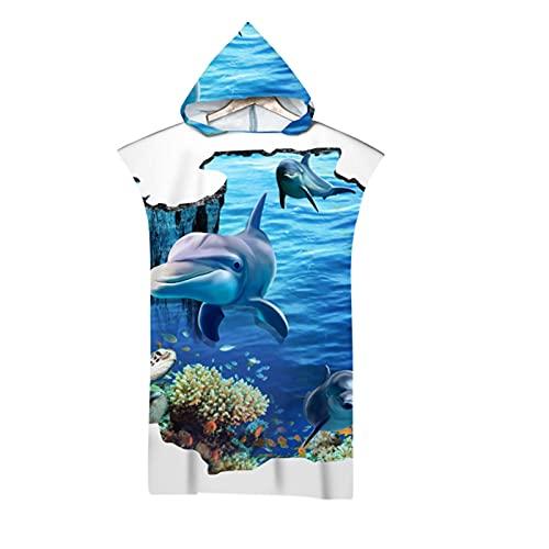 Microfibra Playa Toalla con Capucha 3D Hermoso Subacuático Mundo Impreso Impreso Surf Traje de baño Suave para Las Mujeres Poncho Seco rápido Hombre Albornoz FZHJBLP (Color : J, Size : 75x110CM)