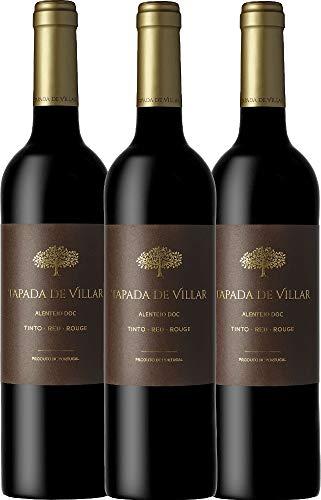 VINELLO 3er Weinpaket Rotwein - Tapada de Villar Tinto 2019 - Quinta das Arcas mit Weinausgießer | trockener Rotwein | portugiesischer Rotwein aus Alentejo | 3 x 0,75 Liter