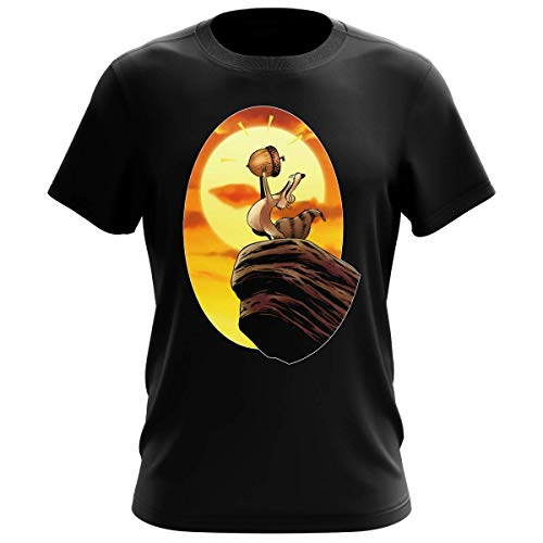 OKIWOKI Ice Age Lustiges Schwarz Herren-T-Shirt - Scrat und Der König der Löwen (Ice Age Parodie signiert Hochwertiges T-Shirt in Größe XXL - Ref : 932)