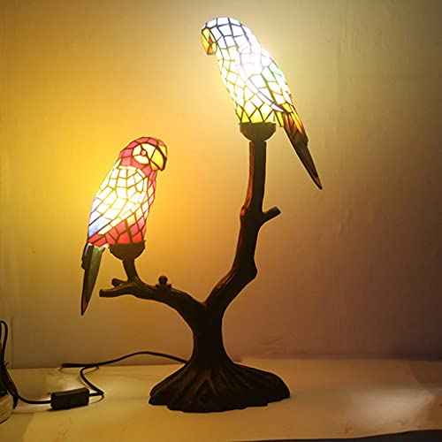 FVDS Lámpara de Mesa Noche Noche lámparas Tiffany Estilo lámpara Creativo Manchado de Cristal Animal decoración de Aves Lectura luz Sala de Estar Dormitorio cumpleaños