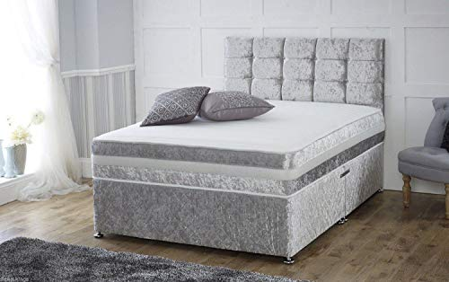 Crushed Velvet Divan Bed With Mattress   Free 20' Headboard   Storage Drawers Available (6.0FT Super King - 0 Drawers, Red)