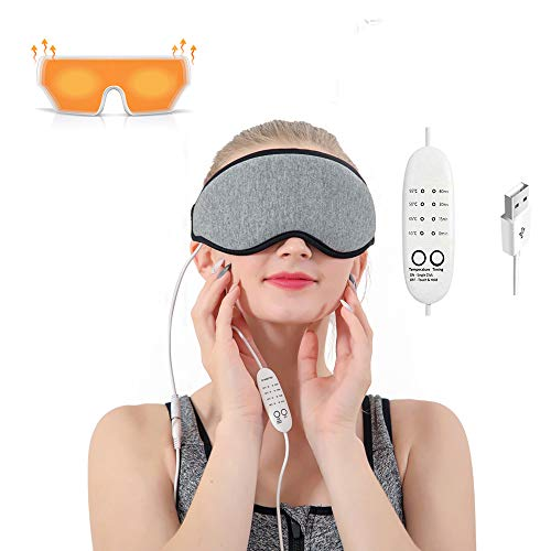 Eye Mask with Heated,Warm Compress for Eyes with Relieve Puffy Eyes,Dark Cycles,Tired Eyes Portable USB with Time&Temp Control Warming Washable Gift for Women and Men