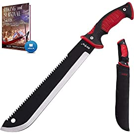 11 Inch Serrated blade Machete with Nylon Sheath - Saw Blade Machetes with Non-Slip Rubber Handle - Best Brush Clearing… 2 High quality 11-inch blade machete knife. Our survival knife is made of black coated 3Cr13 stainless steel which provides super sharp cutting performance and high durability, while the saw handle of machette is covered with the rubber for comfortable and continuous usage. Comes with Survival EBook - the best guide for those who like outdoor activities! Get the E book after scanning QR code on the box. New outdoor experience. This compact black machete with sheath will be your best friend on any adventure! Tactical machete is not only a brush clearing knife, but also is a good survival tool. Blade length - 11 inch. Total length - 16,93 inch. Multifunction machette is a perfect survival tool. It is quite compact so you can use it for camping, hiking, hunting, boating, sailing, fishing or other emergency situations. Such edc tactical gear should be acquired by hunters, campers, preppers, backpackers or any true outdoors people.