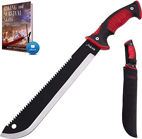 11 Inch Serrated blade Machete with Nylon Sheath - Saw Blade Machetes with Non-Slip Rubber Handle -...