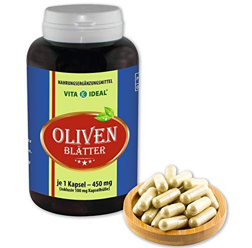VITA IDEAL ® Oliven-Blätter (Olea europaea) 180 Kapseln je 450mg, aus rein natürlichen Kräutern, ohne Zusatzstoffe