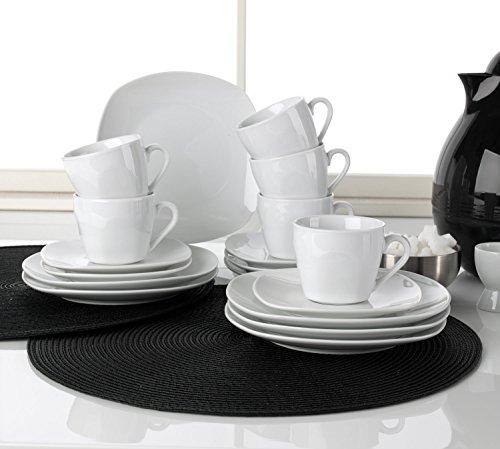 Home4You Kaffee-Service Kaffeegeschirr Geschirrset   18-TLG. (6 Personen)   Weiß   Porzellan