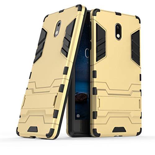 tinyue® Cover per Nokia 3, Copertura Antiurto PC + TPU Custodia Rigida in Silicone Armatura Pesante 2 in 1 con Protezione per Lo Stand Cover, Oro