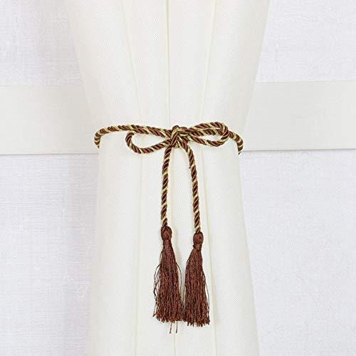Piner 1 paar eenvoudige stijl raamdecoratie gordijn kwast touw tie backs gordijn franje tiebacks home gordijn houder accessoires, bruin, 1 paar