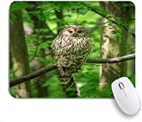 VAMIX マウスパッド 個性的 おしゃれ 柔軟 かわいい ゴム製裏面 ゲーミングマウスパッド PC ノートパソコン オフィス用 デスクマット 滑り止め 耐久性が良い おもしろいパターン (黒目座り春の自然フクロウ鳥観察動物ツリー野生生物)