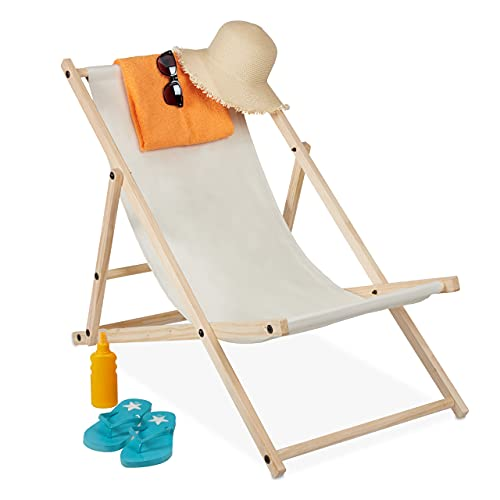 Relaxdays -   Liegestuhl Holz,