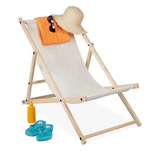 relaxdays Tumbona Plegable, Playa y Jardín, Silla Balcón Relajante, 3 Posiciones, Madera...