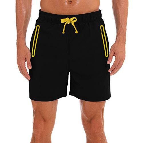 DUOFIER - Pantalones Cortos de Secado rápido para Hombre con Bolsillos con Cremallera - Amarillo - Large