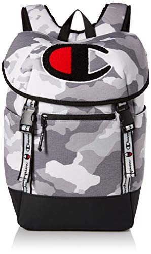 Champion Men's Top Load Backpack, Medium grey camo, One Size