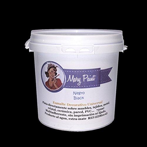 Mary Paint   Pintura para muebles efecto Chalk Paint, Negro - 750ml