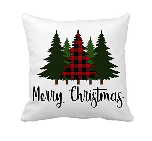 4TH Emotion Red Black Buffalo Christmas Tree Throw Pillow Cover Winter Farmhouse Cushion Case for Sofa Couch 18x18 Inches Cotton Polyester