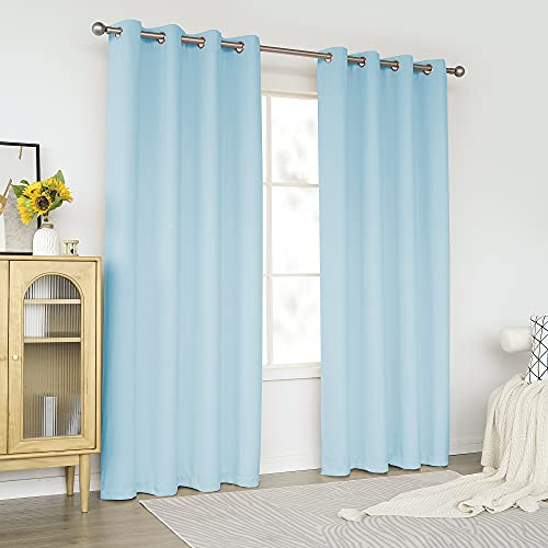 KEQIAOSUOCAI Light Blue Blackout Curtains 84 Inch for Living Room - Grommet Window Drapes Room Darkening Thermal Insulated Mint Green Curtain for Bedroom, Sky Blue, 2 Panels, 52 x 84 Inches