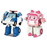 Robocar Poli 2 Pack Poli + Amber Transforming Robot, 4' Tramsformable Action Toy Figure