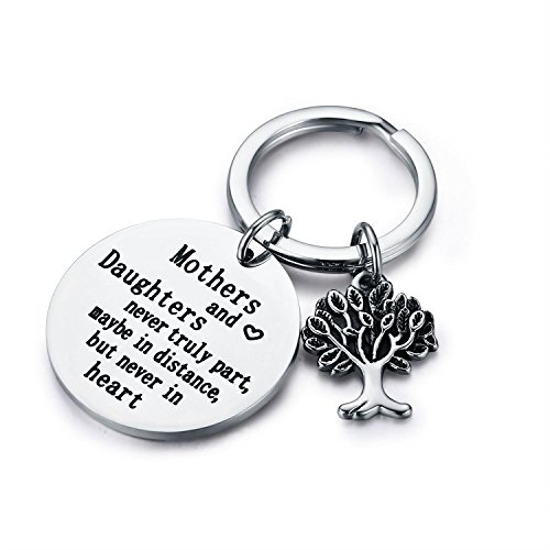 Udobuy Family Tree Keychain Mother Daughter Gift Mothers and Daughters Never Truly Part, Maybe in Distance.Mother Daughter Keychain