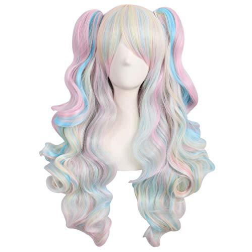 MapofBeauty farbige Lolita lange lockige geheftet auf Pferdeschwanz Cosplay Perücke (rosa/blau/blond)