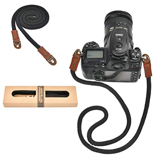 Correa de Cámara,Correa de Cinturón de Hombro de Algodón Suave para la Mayoría de las Cámaras,la Mejor Opción para Fotógrafos de Moda,Negro,12 mm x 100 cm