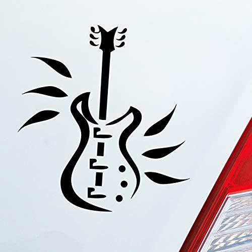 Auto Aufkleber in deiner Wunschfarbe Gitarre E-Gitarre Instrument Metal Rock 10x9 cm Autoaufkleber Sticker Folie