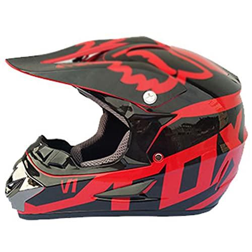 Casco De Motocross, con Gafas + Guantes + Máscara Casco De Rally Motocicleta Bicicleta De Montaña Montar Cuesta Abajo Casco De Bicicleta De Montaña De Cara Completa (Negro + Rojo)