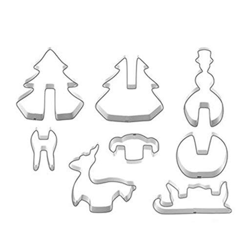 GrassBlue Mould Christmas Cookie Cutter Set Stainless Steel Christmas Cookie Cutters Shapes Christmas Biscuit Pastry Baking Cutters