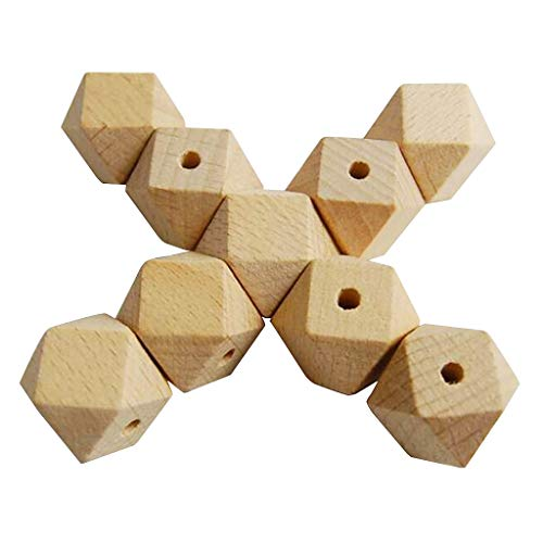 chiwanji 20 Piezas de Cuentas Sueltas de Madera Geométrica Sin Terminar para Collar, Pulsera, Artesanía DIY - 16mm