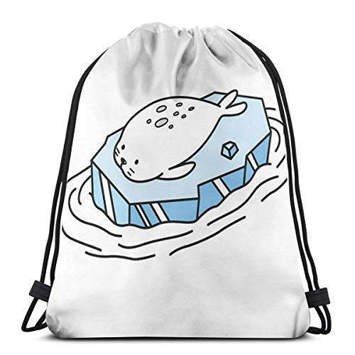 XCNGG Bundle Backpack Outdoor Shopping Knapsack Seal Icon Walrus Cartoon Rope-Pulling Bag Sports Bag Suitable for Fitness Shopping and Yoga