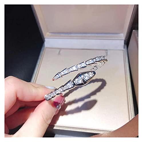 GPWDSN Bracciali in Oro Rosa con Diamanti e zirconi Bracciale Aperto da Donna Bracciale Elegante e Raffinato I (Grande)