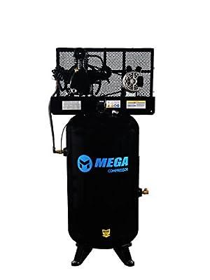6.5 HP MegaPower Vertical Air Compressor, 1 Phase, 80 Gallon, 2 Stage, MP-6580V from Mega Compressor
